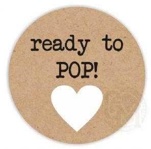 Ready To Pop Unisex Baby Shower Stickers Black Text White Heart Craft Paper Style